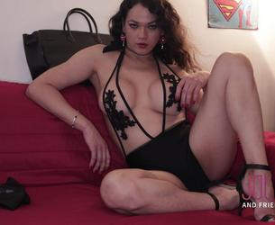 [JolieAndFriends.com] Camilla Jolie - Brunette Beauty (14.08.2019) [2019 g., Big dick, Tranny, High heels, Lingerie, Fetish, Sofa sex, Brunette, Solo, Masturbate, Live, 720p]