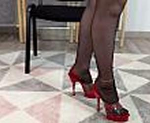[Clips4Sale] Dame Olga - Cum on Shoes: Shoejob in Red and Clear Mules with Seamed Pantyhose (2020/11/17) (1080p)